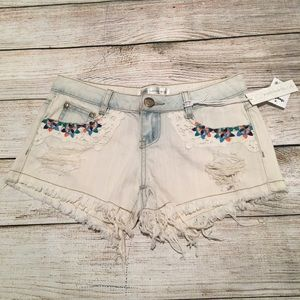 Karma Blue Embroidered Lace Shorts